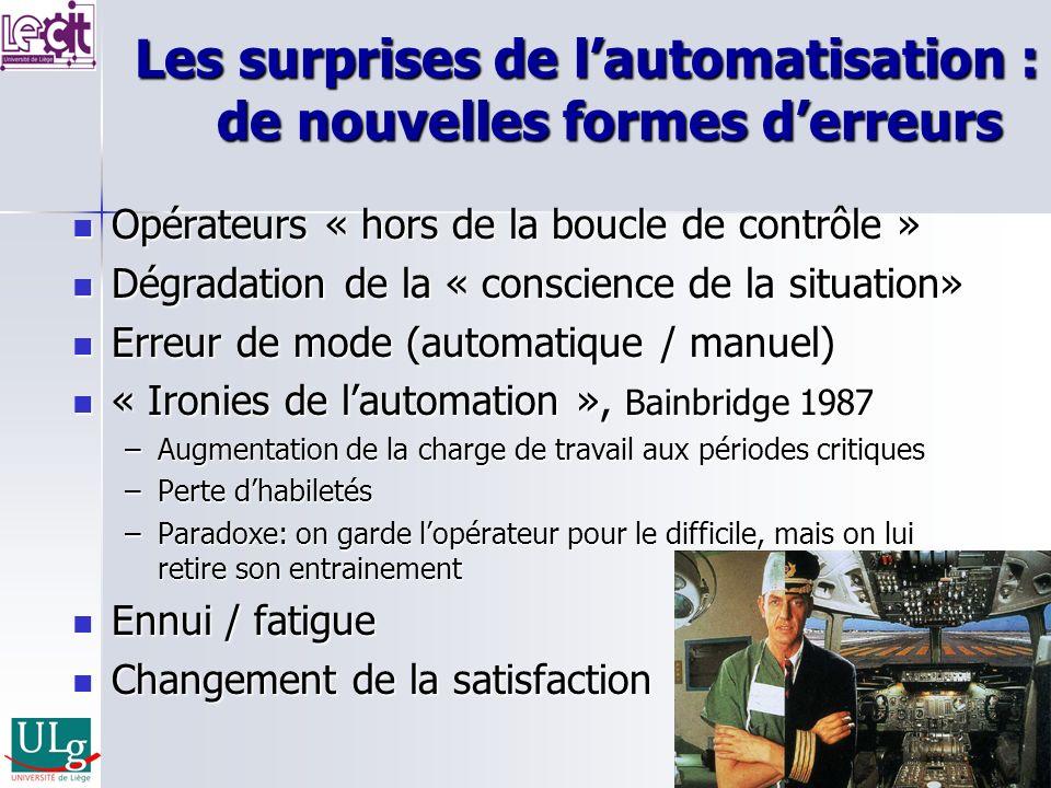 Les surprises de lautomatisation : de nouvelles formes derreurs Opérateurs « hors de la boucle de contrôle » Opérateurs « hors de la boucle de contrôl