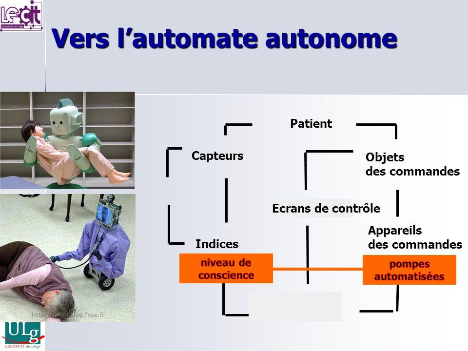 Vers lautomate autonome Capteurs Objets des commandes Indices Ecrans de contrôle Monitoring Appareils des commandes Anesthésiste Patient