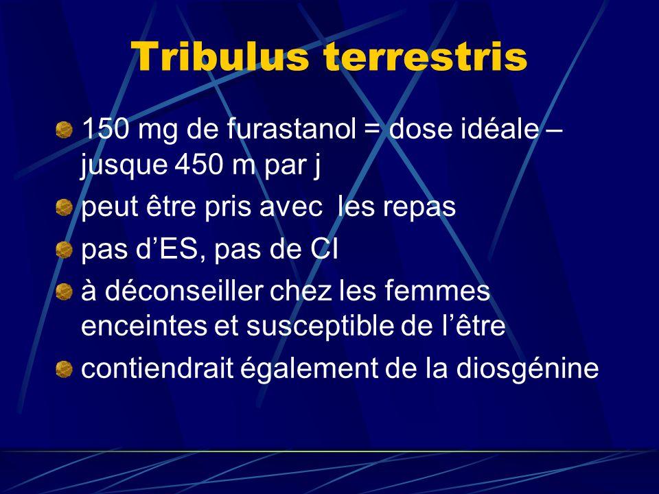 Tribulus terrestris 150 mg de furastanol = dose idéale – jusque 450 m par j peut être pris avec les repas pas dES, pas de CI à déconseiller chez les femmes enceintes et susceptible de lêtre contiendrait également de la diosgénine