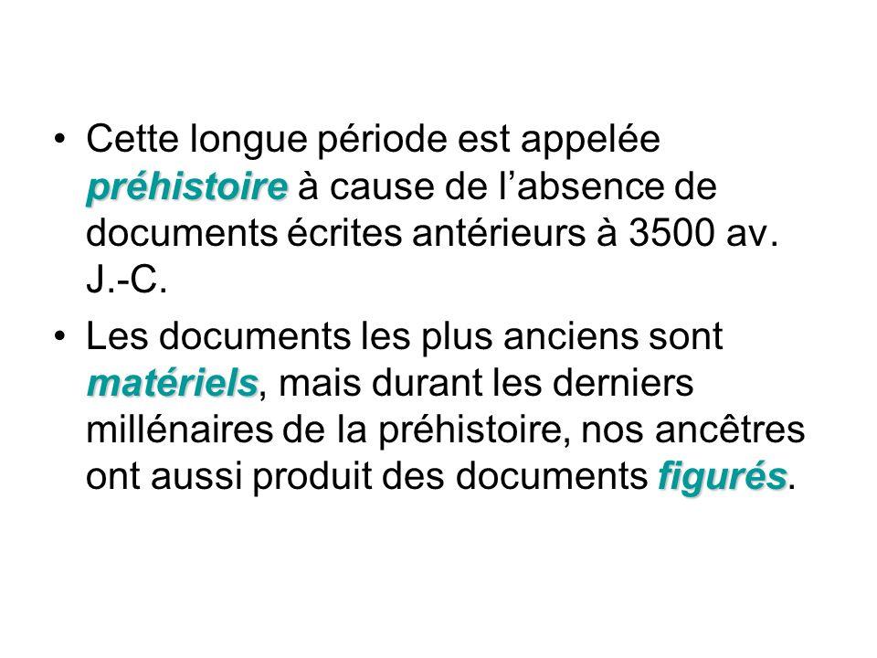 préhistoireCette longue période est appelée préhistoire à cause de labsence de documents écrites antérieurs à 3500 av. J.-C. matériels figurésLes docu