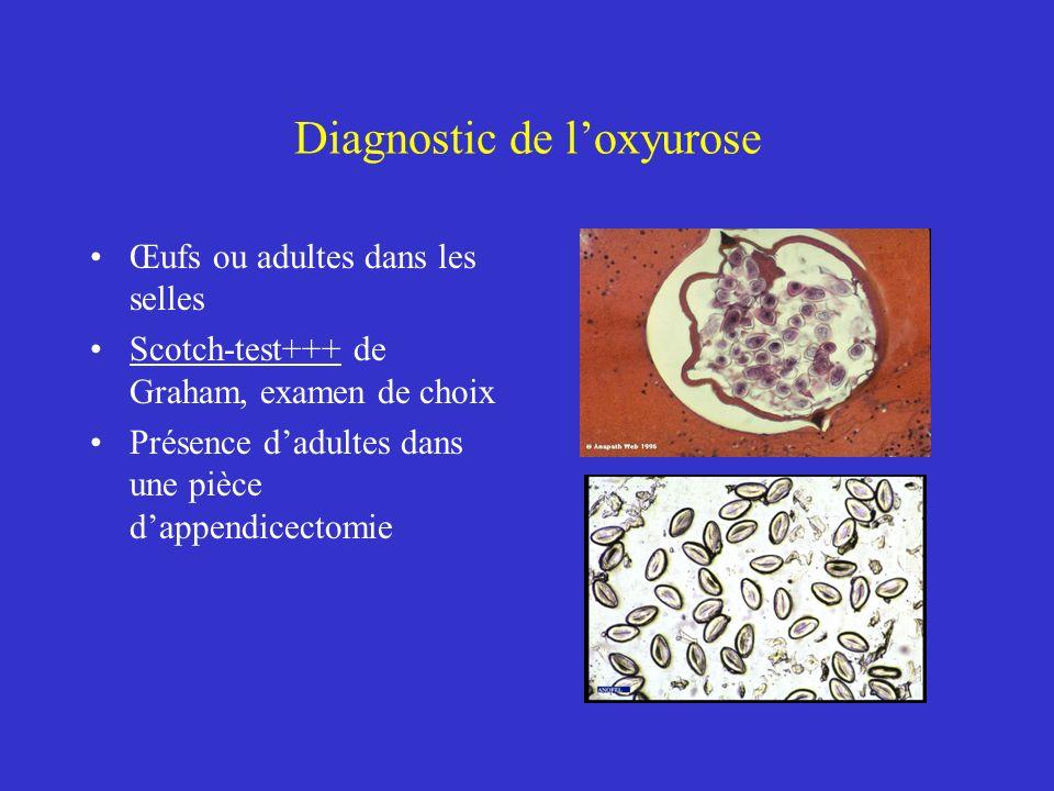Diagnostic de loxyurose Œufs ou adultes dans les selles Scotch-test+++ de Graham, examen de choix Présence dadultes dans une pièce dappendicectomie
