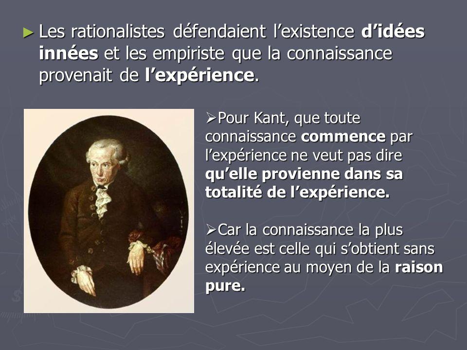 Les rationalistes défendaient lexistence didées innées et les empiriste que la connaissance provenait de lexpérience. Les rationalistes défendaient le