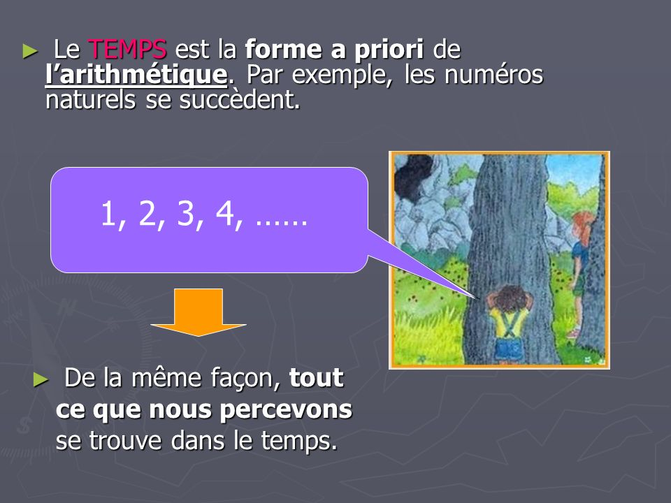 Le TEMPS est la forme a priori de larithmétique. Par exemple, les numéros naturels se succèdent. Le TEMPS est la forme a priori de larithmétique. Par