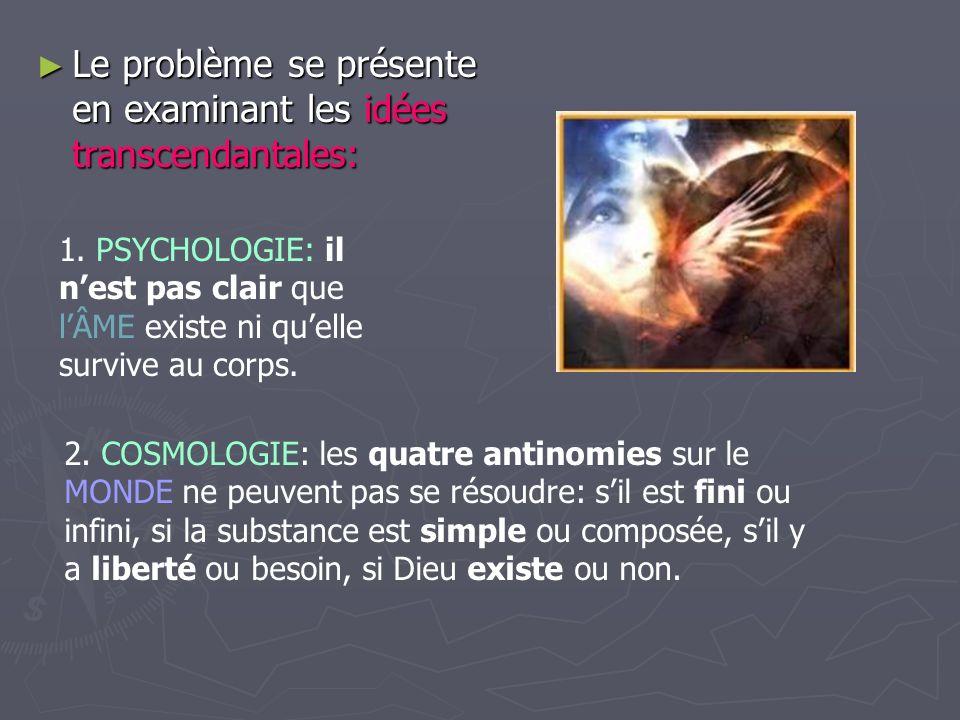 Le problème se présente en examinant les idées transcendantales: Le problème se présente en examinant les idées transcendantales: 1. PSYCHOLOGIE: il n