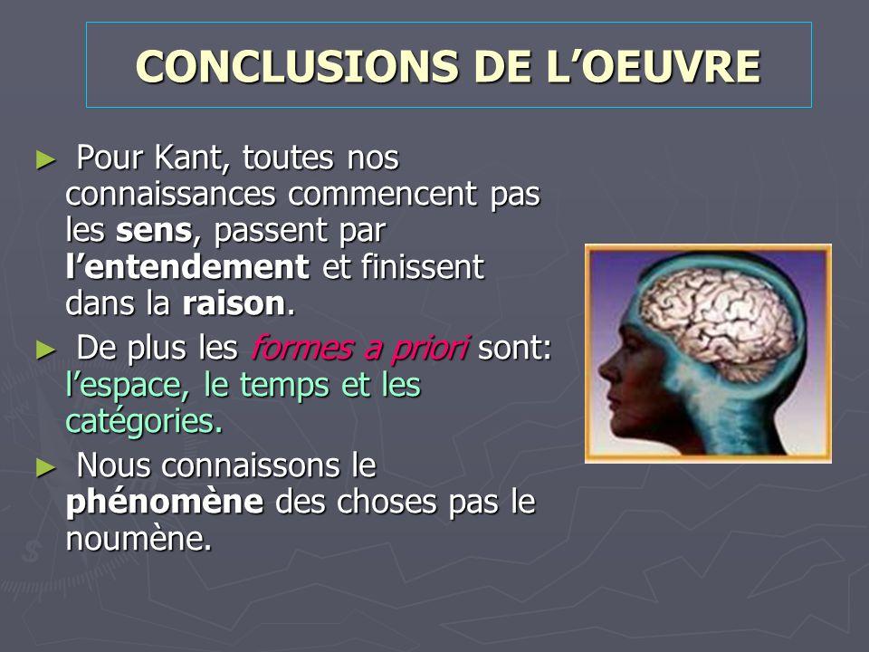 CONCLUSIONS DE LOEUVRE Pour Kant, toutes nos connaissances commencent pas les sens, passent par lentendement et finissent dans la raison. Pour Kant, t