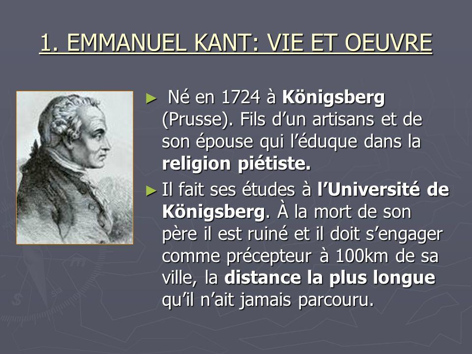 1. EMMANUEL KANT: VIE ET OEUVRE Né en 1724 à Königsberg (Prusse). Fils dun artisans et de son épouse qui léduque dans la religion piétiste. Né en 1724