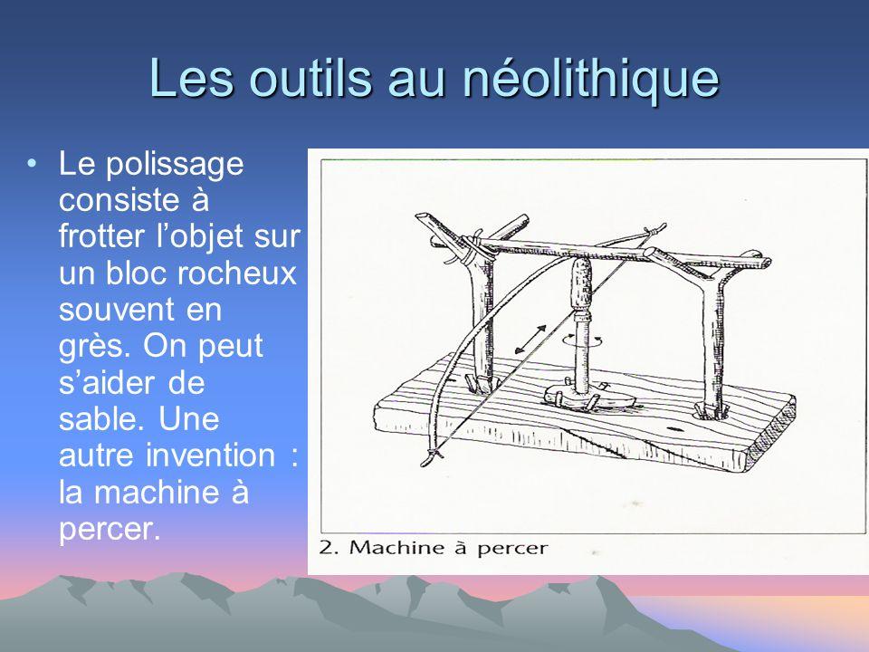 Les outils au néolithique Le polissage consiste à frotter lobjet sur un bloc rocheux souvent en grès.