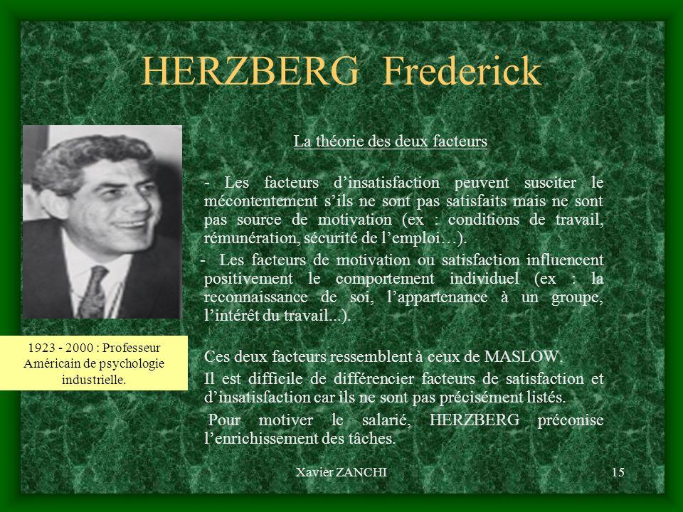 Xavier ZANCHI15 HERZBERG Frederick La théorie des deux facteurs - Les facteurs dinsatisfaction peuvent susciter le mécontentement sils ne sont pas sat