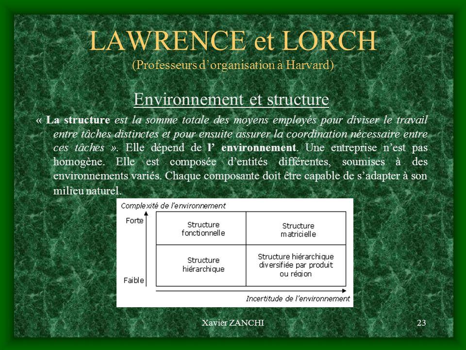 Xavier ZANCHI23 LAWRENCE et LORCH (Professeurs dorganisation à Harvard) Environnement et structure « La structure est la somme totale des moyens emplo