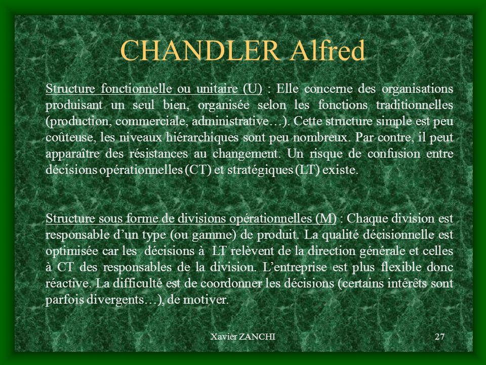 Xavier ZANCHI27 CHANDLER Alfred Structure fonctionnelle ou unitaire (U) : Elle concerne des organisations produisant un seul bien, organisée selon les