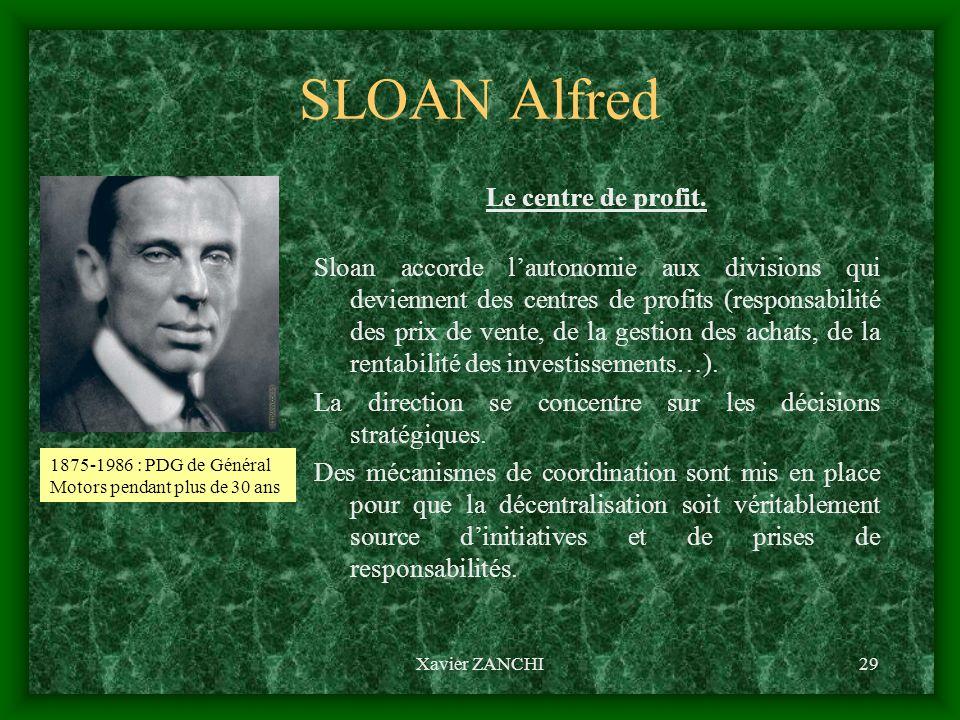 Xavier ZANCHI29 SLOAN Alfred Le centre de profit. Sloan accorde lautonomie aux divisions qui deviennent des centres de profits (responsabilité des pri