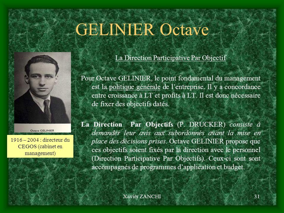 Xavier ZANCHI31 GELINIER Octave La Direction Participative Par Objectif Pour Octave GELINIER, le point fondamental du management est la politique géné