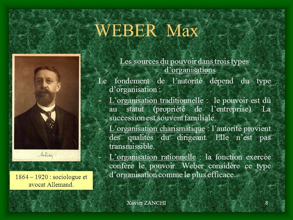 Xavier ZANCHI9 WEBER Max Les propriétés de lorganisation bureaucratique - La structure hiérarchique et les compétences de chaque emploi sont clairement définis.