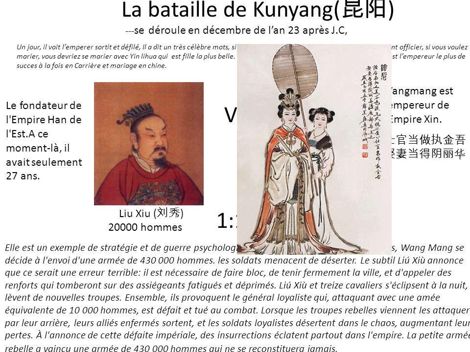 VS La bataille de Kunyang( ) --- se déroule en décembre de lan 23 après J.C, Elle est un exemple de stratégie et de guerre psychologique. Après plusie