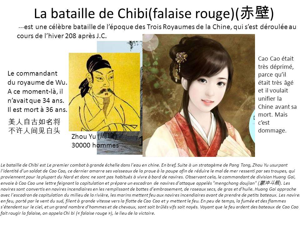 VS La bataille de Chibi(falaise rouge)( ) --- est une célèbre bataille de lépoque des Trois Royaumes de la Chine, qui sest déroulée au cours de lhiver