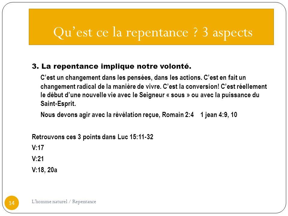 Quest ce la repentance .3 aspects 3. La repentance implique notre volonté.