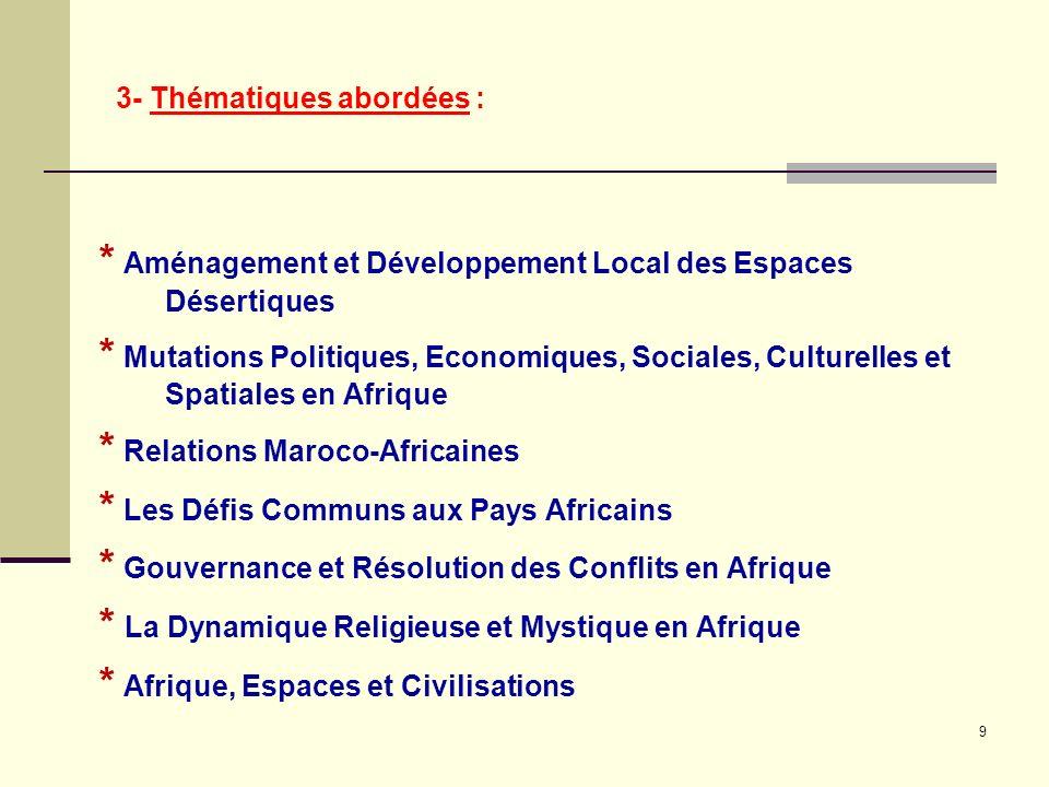 3- Thématiques abordées : * Aménagement et Développement Local des Espaces Désertiques * Mutations Politiques, Economiques, Sociales, Culturelles et Spatiales en Afrique * Relations Maroco-Africaines * Les Défis Communs aux Pays Africains * Gouvernance et Résolution des Conflits en Afrique * La Dynamique Religieuse et Mystique en Afrique * Afrique, Espaces et Civilisations 9