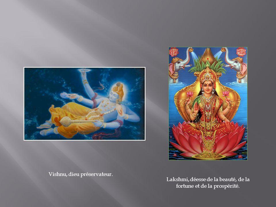 Vishnu, dieu préservateur. Lakshmi, déesse de la beauté, de la fortune et de la prospérité.