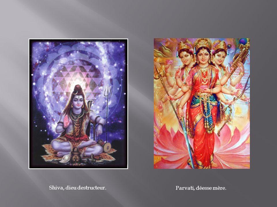 Shiva, dieu destructeur. Parvati, déesse mère.