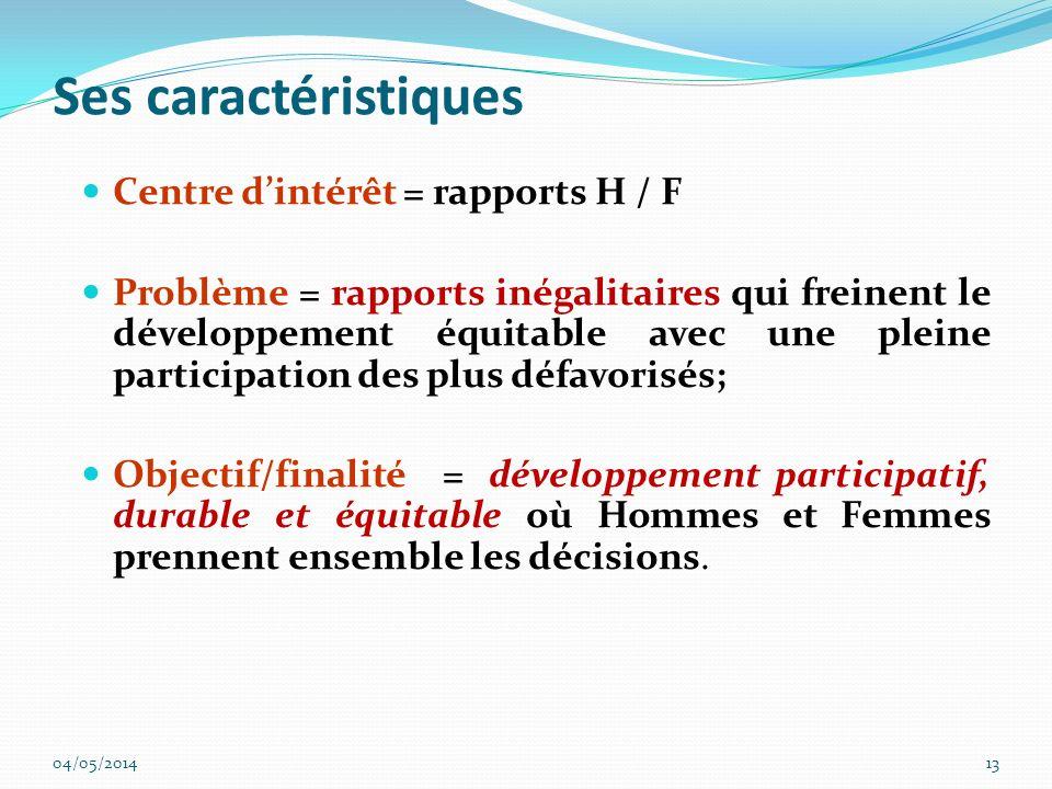 Ses caractéristiques Centre dintérêt = rapports H / F Problème = rapports inégalitaires qui freinent le développement équitable avec une pleine partic