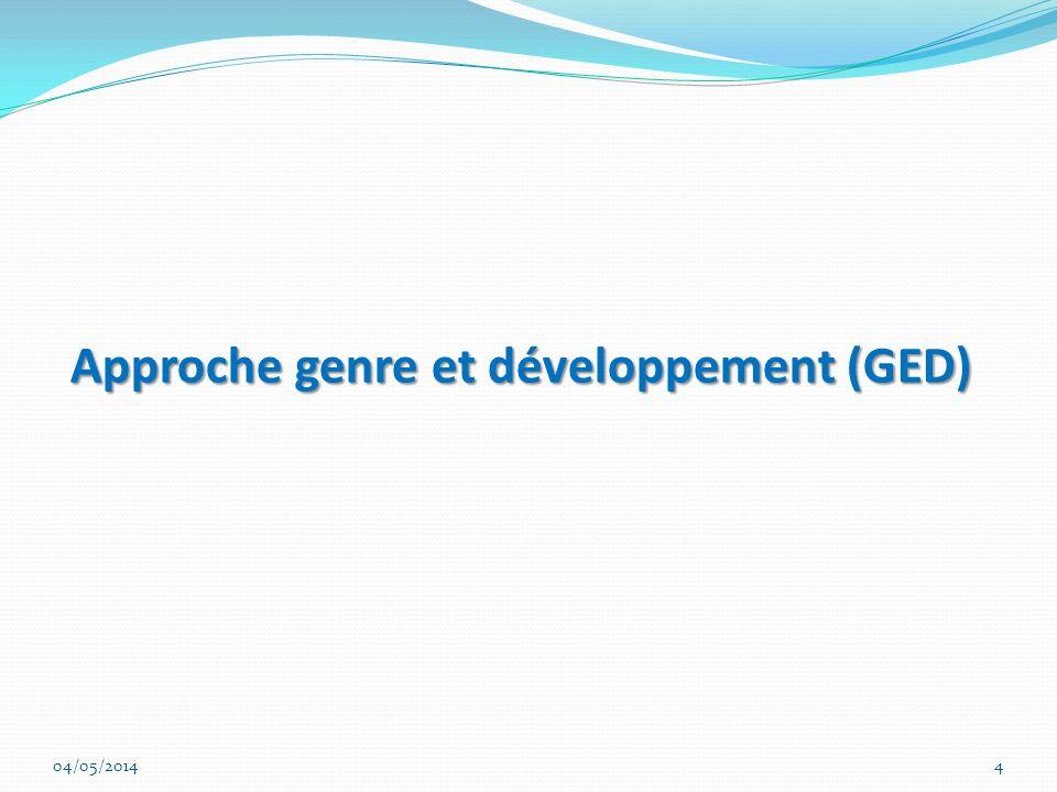 Approche genre et développement (GED) Approche genre et développement (GED) 04/05/20144