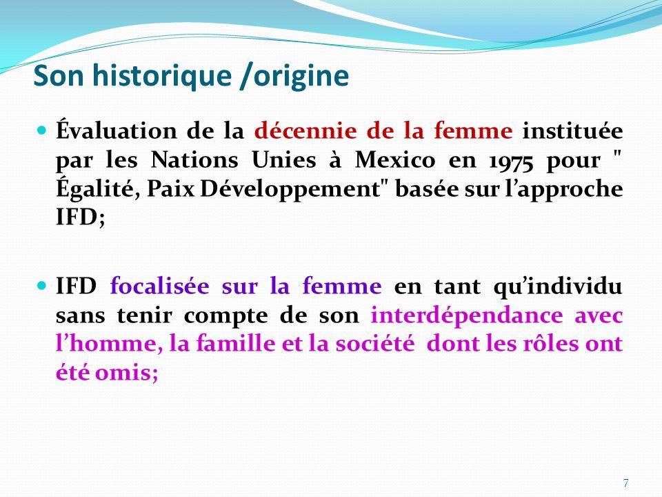 Son historique /origine Évaluation de la décennie de la femme instituée par les Nations Unies à Mexico en 1975 pour