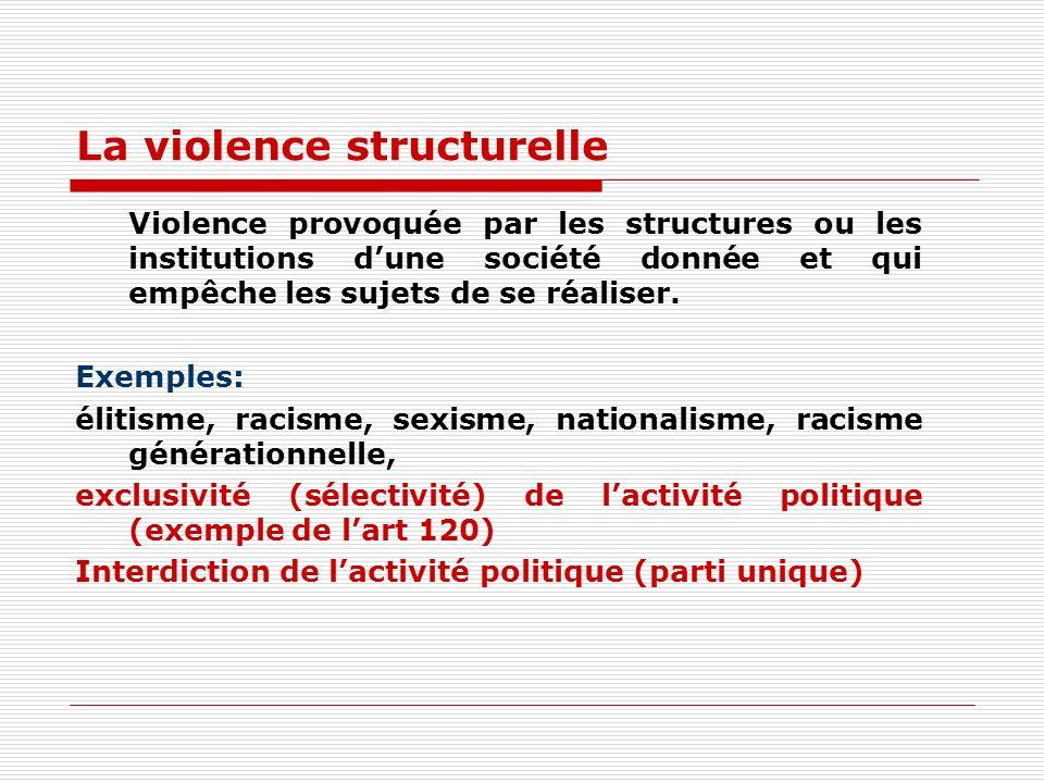 La violence structurelle Violence provoquée par les structures ou les institutions dune société donnée et qui empêche les sujets de se réaliser.