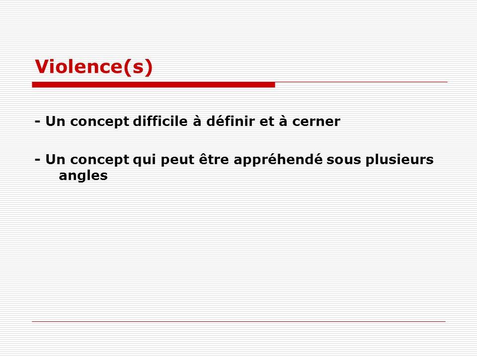 Violence(s) - Un concept difficile à définir et à cerner - Un concept qui peut être appréhendé sous plusieurs angles