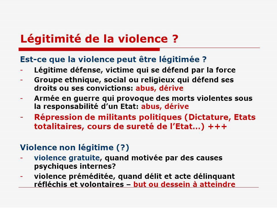 Légitimité de la violence .Est-ce que la violence peut être légitimée .