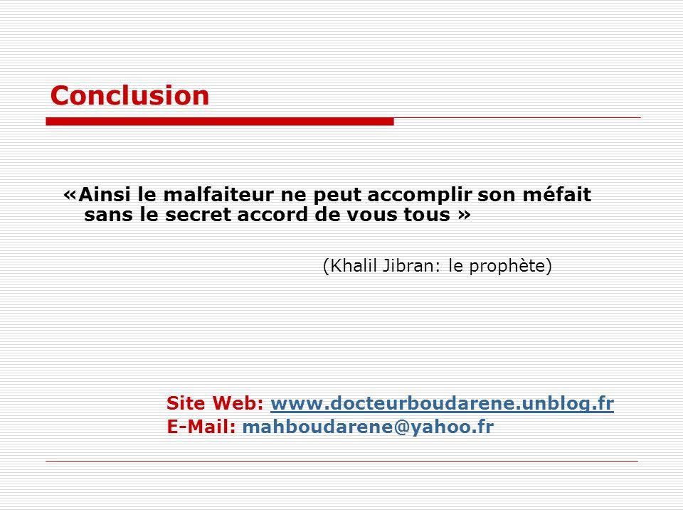 Conclusion «Ainsi le malfaiteur ne peut accomplir son méfait sans le secret accord de vous tous » (Khalil Jibran: le prophète) Site Web: www.docteurboudarene.unblog.frwww.docteurboudarene.unblog.fr E-Mail: mahboudarene@yahoo.fr