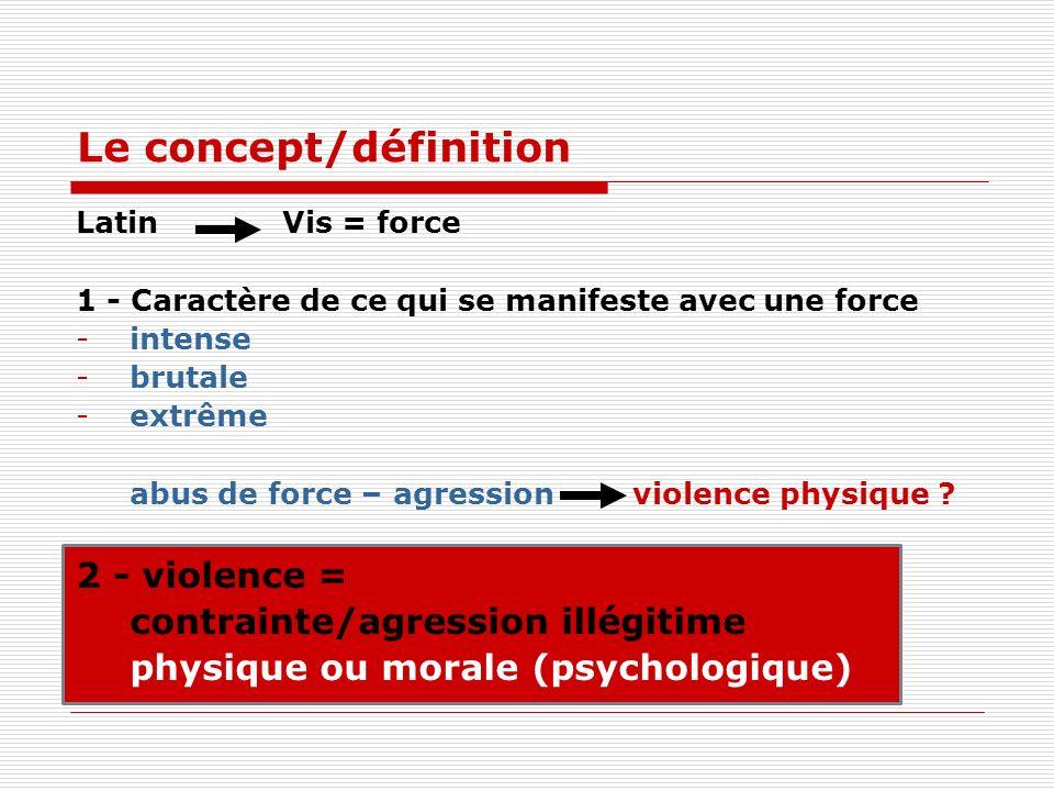 Le concept/définition Latin Vis = force 1 - Caractère de ce qui se manifeste avec une force -intense -brutale -extrême abus de force – agression violence physique .