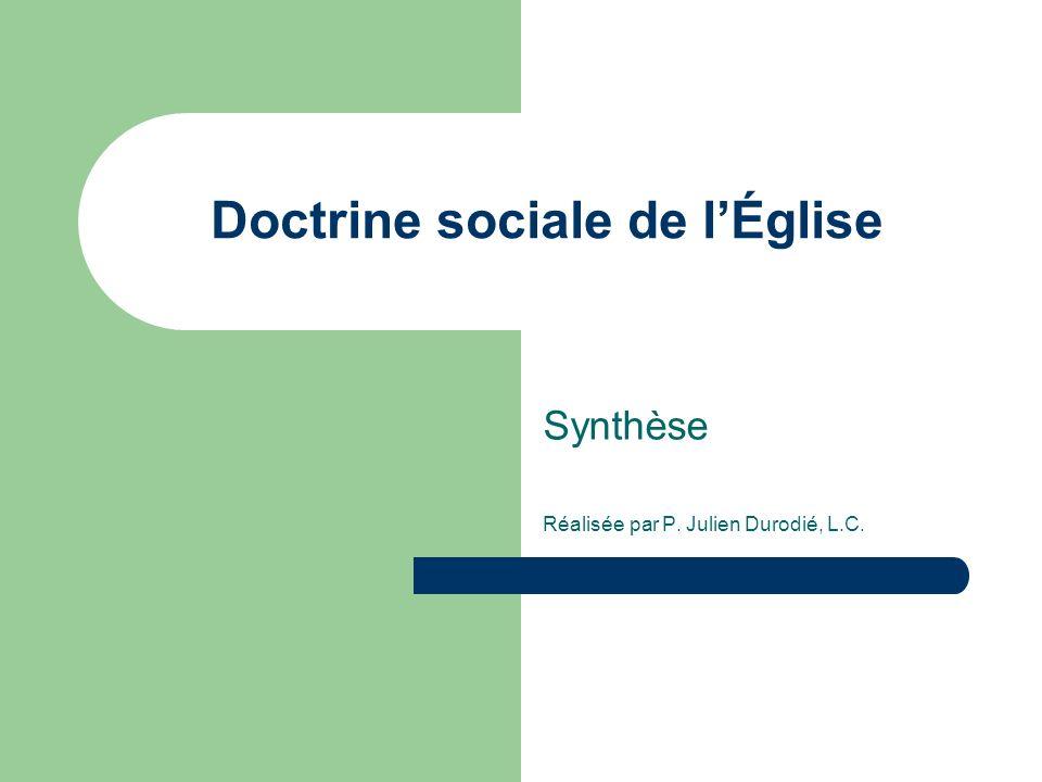 Doctrine sociale de lÉglise Synthèse Réalisée par P. Julien Durodié, L.C.