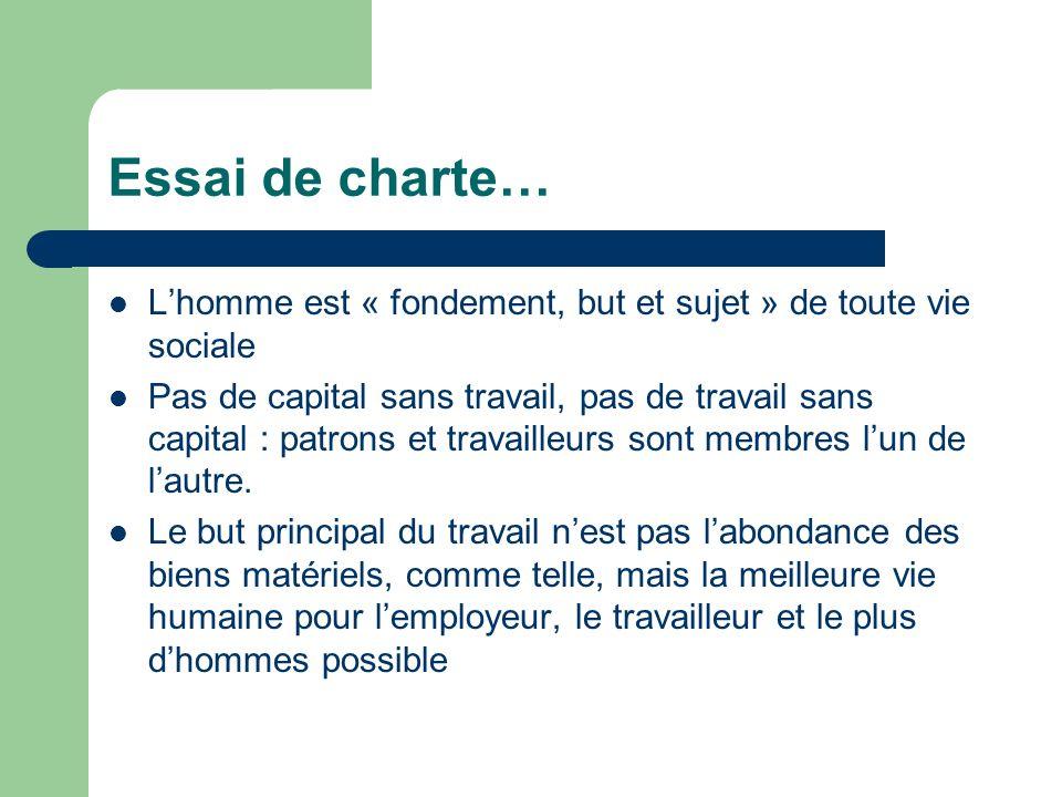 Essai de charte… Lhomme est « fondement, but et sujet » de toute vie sociale Pas de capital sans travail, pas de travail sans capital : patrons et tra