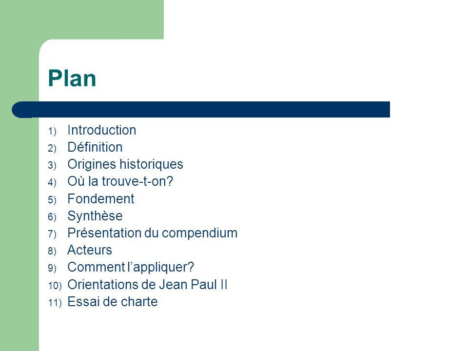 Plan 1) Introduction 2) Définition 3) Origines historiques 4) Où la trouve-t-on? 5) Fondement 6) Synthèse 7) Présentation du compendium 8) Acteurs 9)