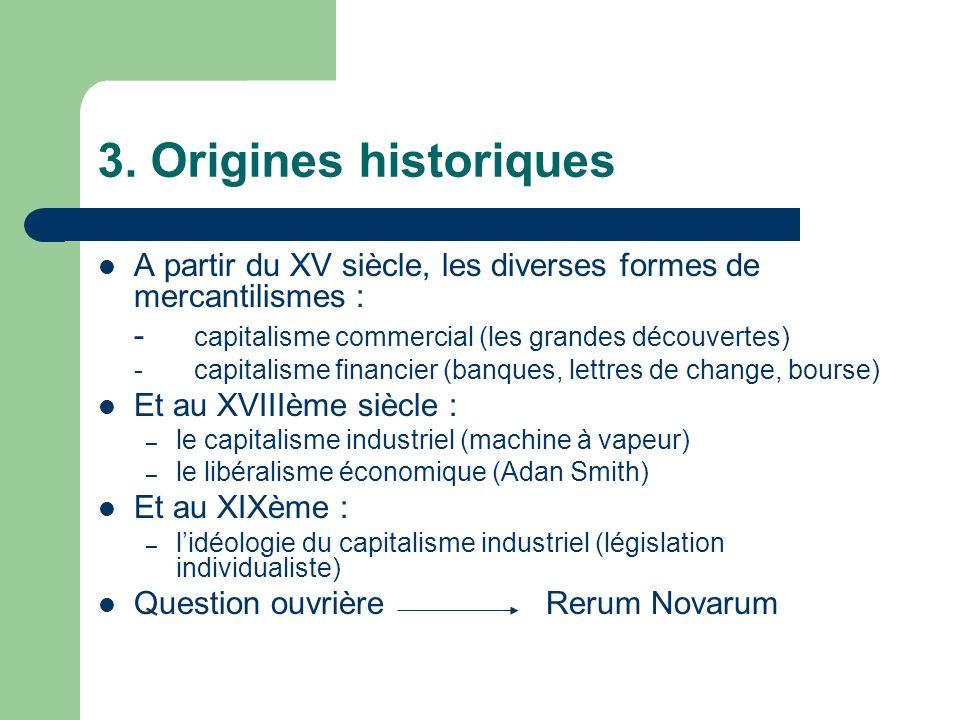 3. Origines historiques A partir du XV siècle, les diverses formes de mercantilismes : - capitalisme commercial (les grandes découvertes) -capitalisme