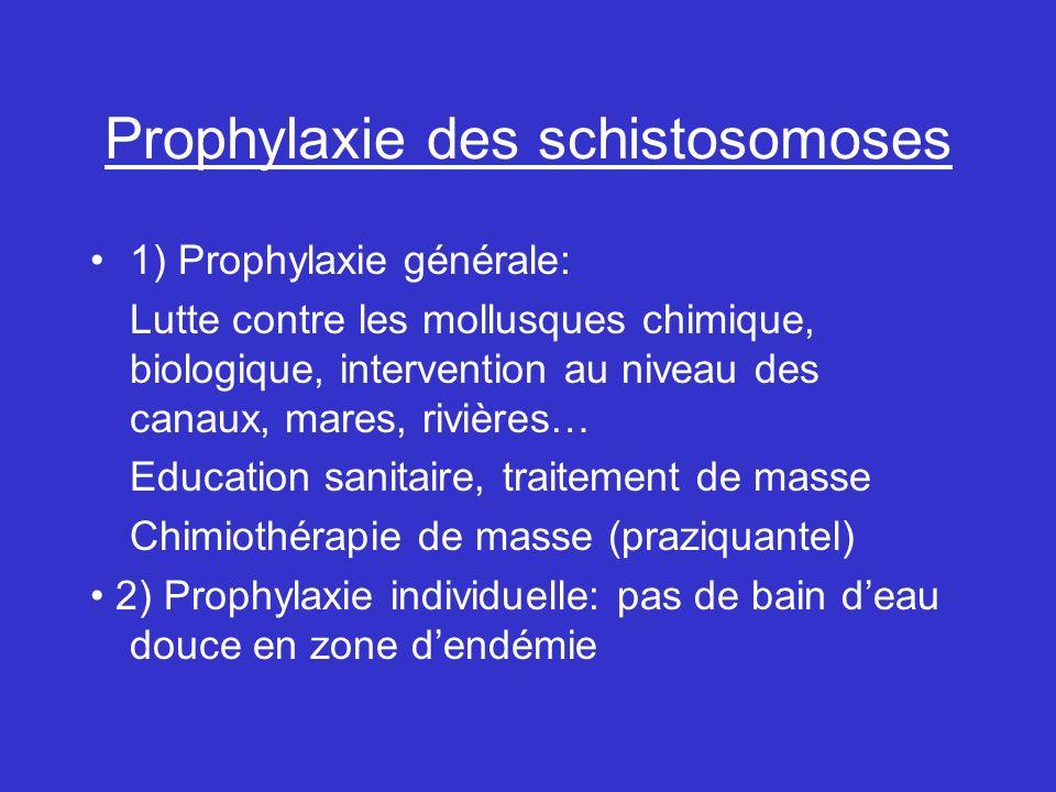 Prophylaxie des schistosomoses 1) Prophylaxie générale: Lutte contre les mollusques chimique, biologique, intervention au niveau des canaux, mares, rivières… Education sanitaire, traitement de masse Chimiothérapie de masse (praziquantel) 2) Prophylaxie individuelle: pas de bain deau douce en zone dendémie