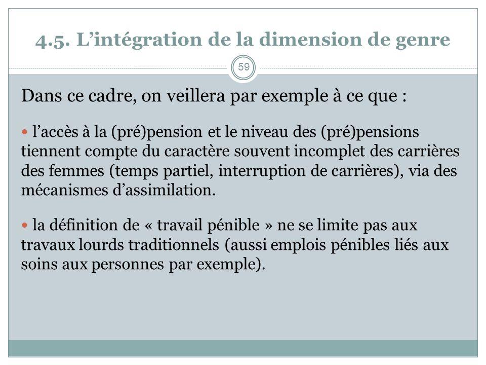 4.5. Lintégration de la dimension de genre Dans ce cadre, on veillera par exemple à ce que : laccès à la (pré)pension et le niveau des (pré)pensions t
