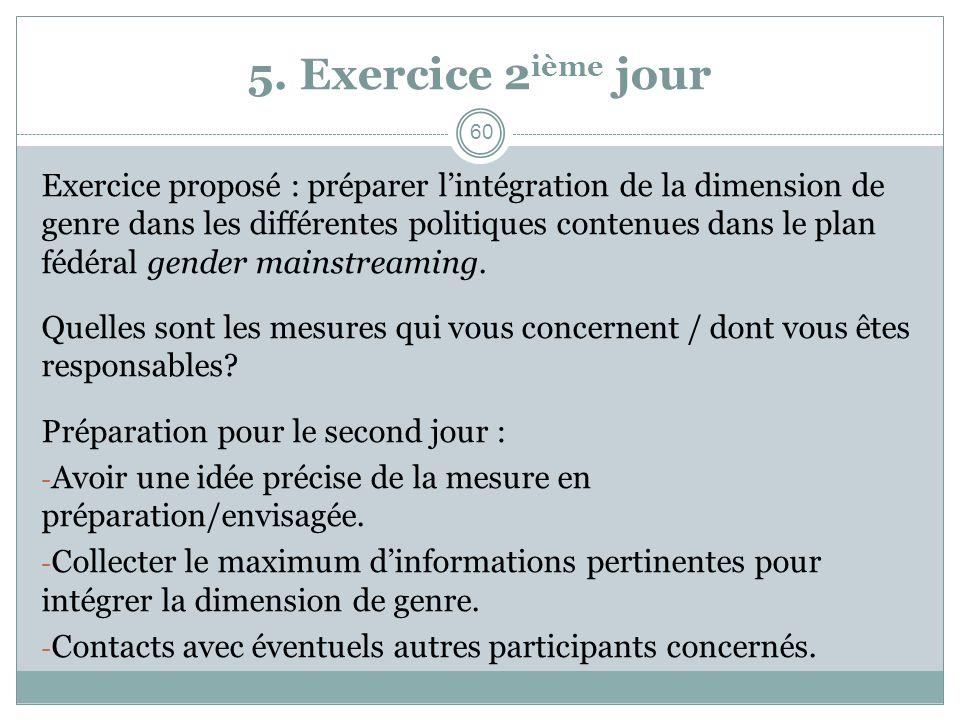 5. Exercice 2 ième jour Exercice proposé : préparer lintégration de la dimension de genre dans les différentes politiques contenues dans le plan fédér