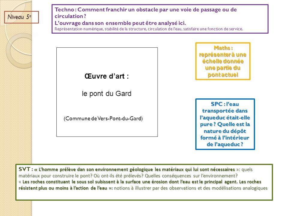 Œuvre dart : le pont du Gard (Commune de Vers-Pont-du-Gard) Niveau 5 e Maths : représenter à une échelle donnée une partie du pont actuel SPC : leau t