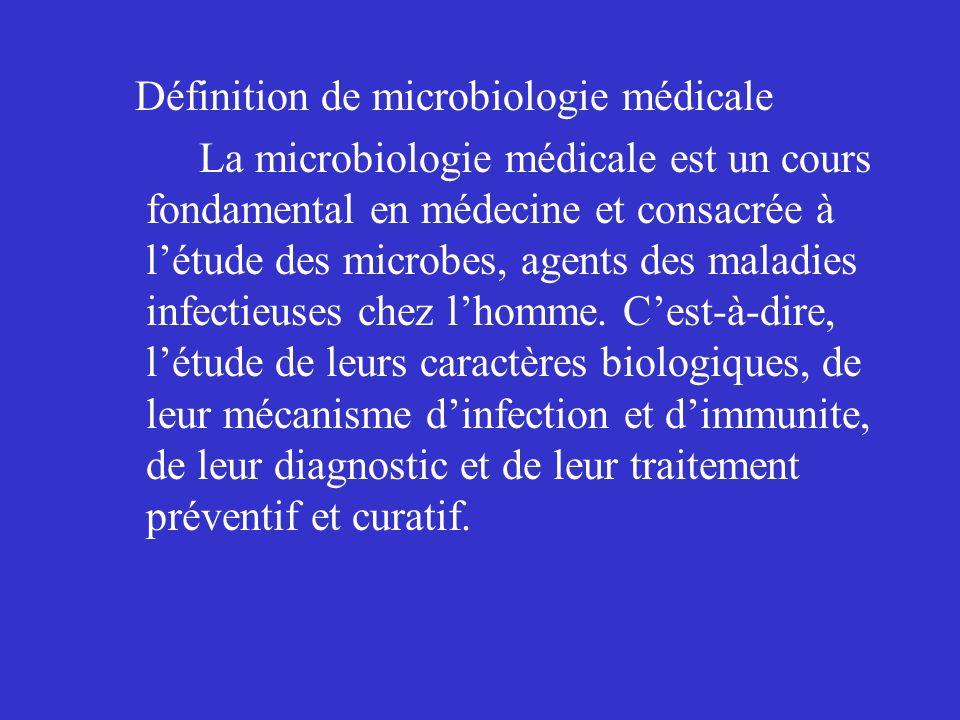 Définition de microbiologie médicale La microbiologie médicale est un cours fondamental en médecine et consacrée à létude des microbes, agents des mal