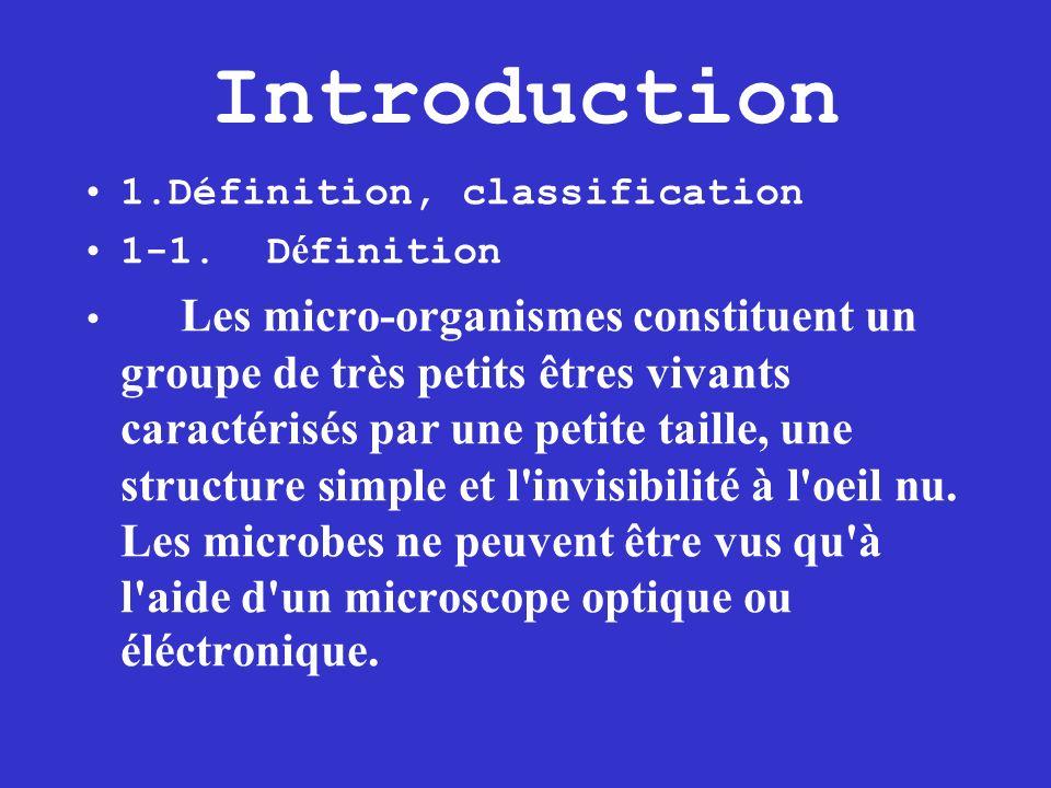 Introduction 1.Définition, classification 1-1. D é finition Les micro-organismes constituent un groupe de très petits êtres vivants caractérisés par u