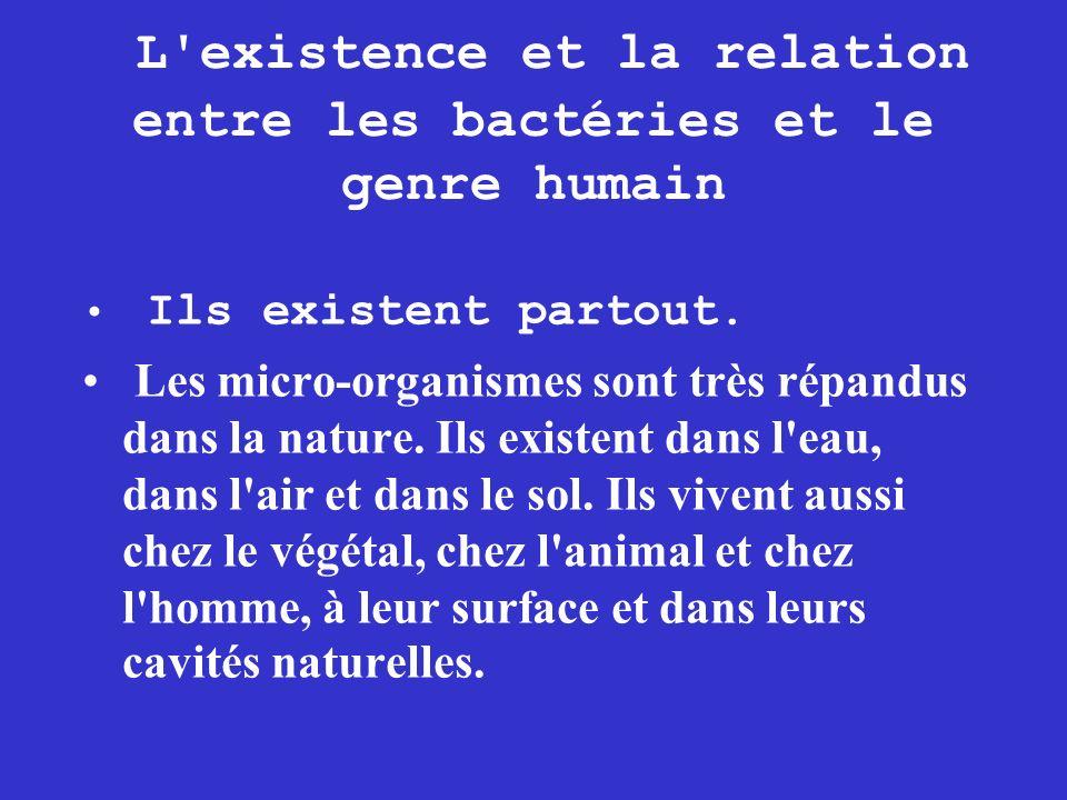 L'existence et la relation entre les bactéries et le genre humain Ils existent partout. Les micro-organismes sont très répandus dans la nature. Ils ex