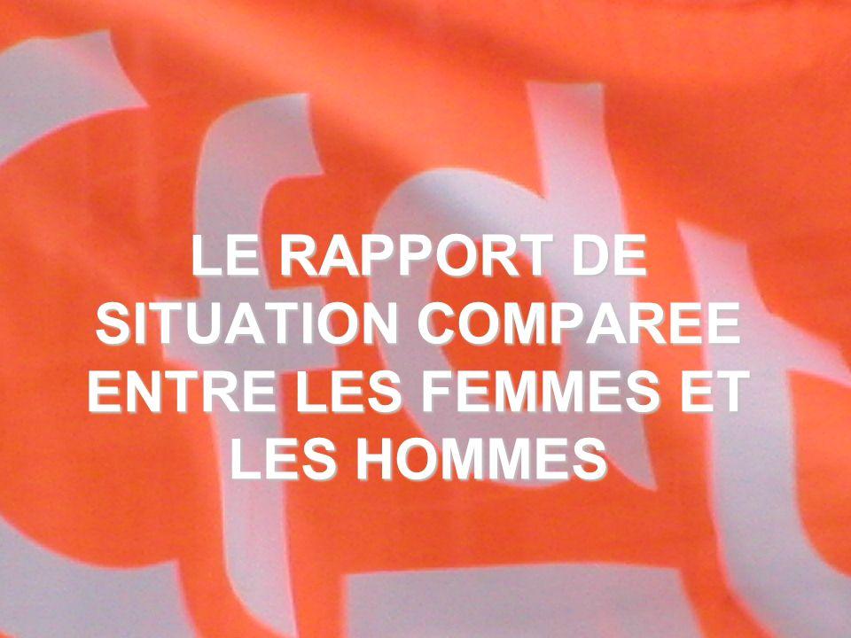 1 LE RAPPORT DE SITUATION COMPAREE ENTRE LES FEMMES ET LES HOMMES