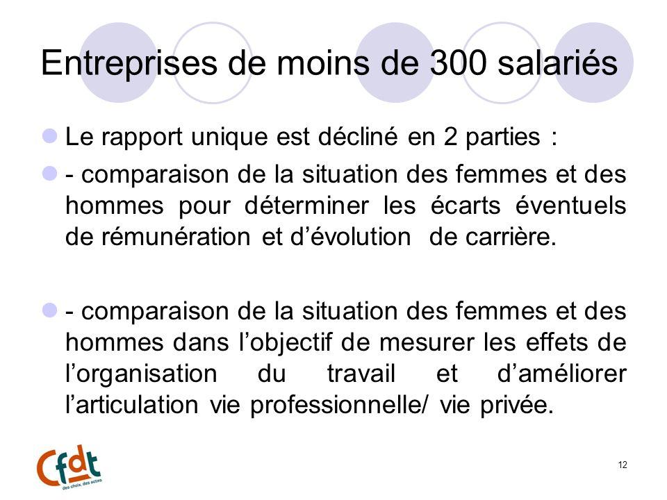 Entreprises de moins de 300 salariés Le rapport unique est décliné en 2 parties : - comparaison de la situation des femmes et des hommes pour déterminer les écarts éventuels de rémunération et dévolution de carrière.
