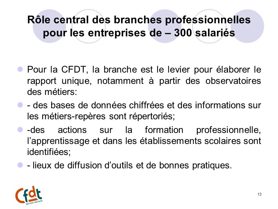 Rôle central des branches professionnelles pour les entreprises de – 300 salariés Pour la CFDT, la branche est le levier pour élaborer le rapport uniq