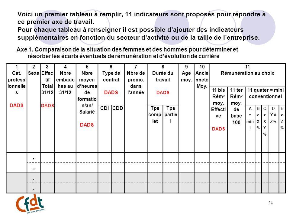Voici un premier tableau à remplir, 11 indicateurs sont proposés pour répondre à ce premier axe de travail.