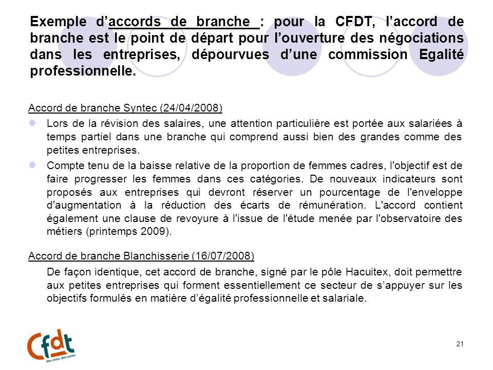 Exemple daccords de branche : pour la CFDT, laccord de branche est le point de départ pour louverture des négociations dans les entreprises, dépourvues dune commission Egalité professionnelle.