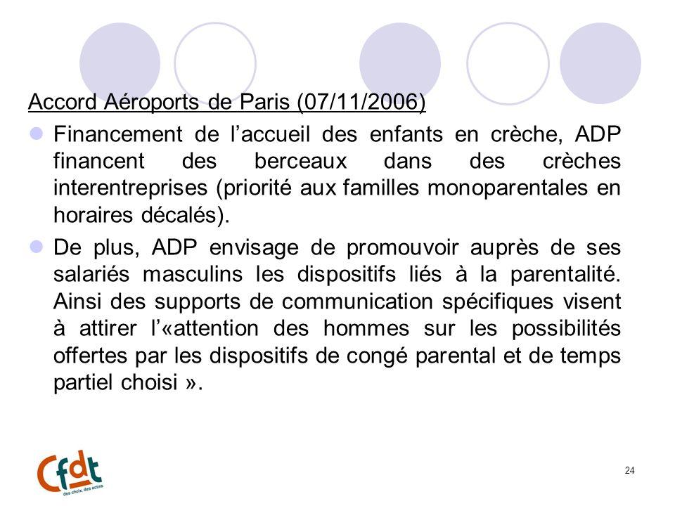 24 Accord Aéroports de Paris (07/11/2006) Financement de laccueil des enfants en crèche, ADP financent des berceaux dans des crèches interentreprises (priorité aux familles monoparentales en horaires décalés).