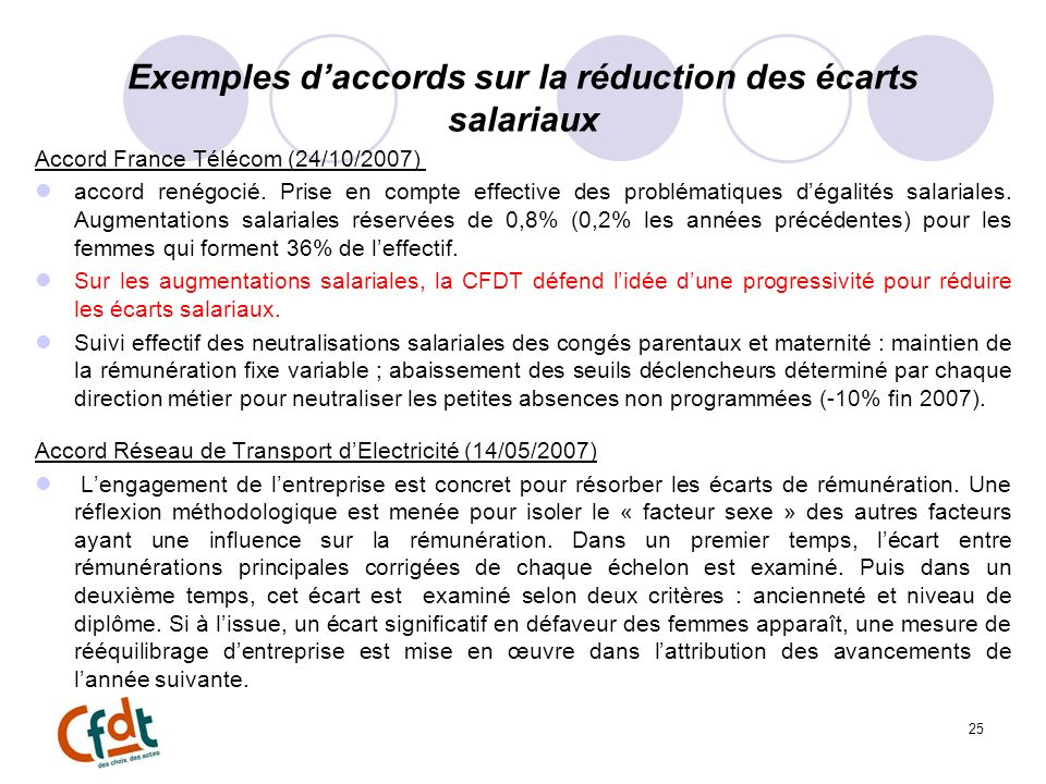 Exemples daccords sur la réduction des écarts salariaux Accord France Télécom (24/10/2007) accord renégocié. Prise en compte effective des problématiq