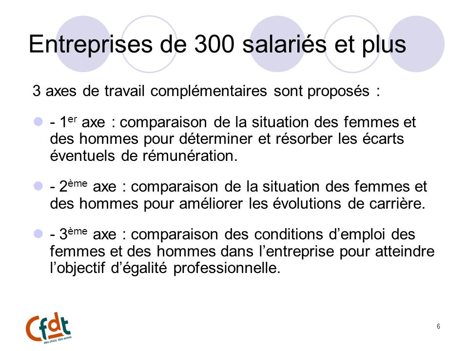 Entreprises de 300 salariés et plus 3 axes de travail complémentaires sont proposés : - 1 er axe : comparaison de la situation des femmes et des hommes pour déterminer et résorber les écarts éventuels de rémunération.